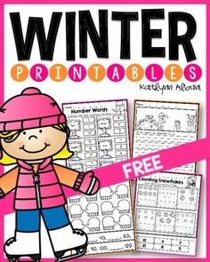 Free winter printables - kindergarten and first grade math and literacy!
