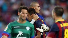 FC Barcelona 7-0 Levante | FC Barcelona, Víctor Valdés   & Neymar. [18.08.13] Fc Barcelona, One Team, Neymar, Photo Galleries, Wrestling, Football, Gallery, Sports, Image