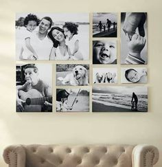 Fotowand selber machen Living room wall design with black and white pictures Picture bar Photo bar BOcean Wall Art, Black andGallery wall obsession. Living Room Wall Designs, House Wall Design, Family Pictures On Wall, Family Photo Walls, Pictures In Hallway, Wall Decor With Pictures, Family Room, Room Pictures, Decoration Photo