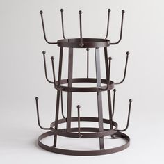 Vintage Style Industrial French Farmhouse Iron Mug / Cup / Glass Bottle Organizer Tree Drying Rack Stand