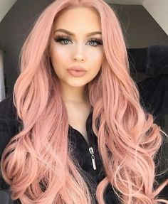 European 100% Remy Human Hair Wig Long Wavy Pink Full Lace Wig Lace Front Wig
