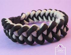 Black Grey Paracord Bracelet Black Shark Jaw by SerendipityFinch
