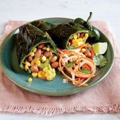 Quick and Healthy Vegetarian Recipes: Grilled Bean and Cheese Stuffed Poblanos | CookingLight.com
