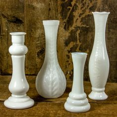 Set of 4 Assorted Milk Glass Vases by SoGreatToSeeYou on Etsy, $24.00
