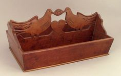 Pennsylvania cherry wedding cutlery box, 19th c., carved with 2 love birds flanking a heart, 7.5 H. x 16 W.