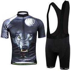 Men's Black Wolf Short Sleeve Cycling Jersey Set #Cycling #CyclingGear #CyclingJersey #CyclingJerseySet