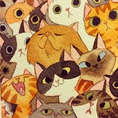 Cat Crowd. by Elsa Chang