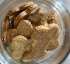 homemade dog treats using only three ingredients. Peanut butter, banana, oats.