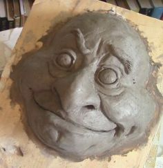 A package of WED clay arrived in the mail a few days ago, and I used it for this silly Goblin portrait. Maybe I'll use it to make mask… Hand Built Pottery, Slab Pottery, Thrown Pottery, Ceramic Pottery, Ceramic Mask, Ceramic Clay, Ceramic Bowls, Clay Projects, Clay Crafts