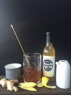Morning Bliss: In a warm coffee glass combine 2 oz. Scotch, 5 oz. Purely Syrup Ginger Root, 3 dashes Angostura bitters and 4 oz. hot Rooibos tea, and stir for approximately 8-10 seconds.  Garnish with thin strips of candied ginger. Enjoy!
