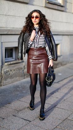 """Preppy Outfit with Platform Loafers and Leather Skirt -  As first seen on blog """"Samieze"""" here: Preppy Outfit with Platform Loafers and Leather Skirt  She is wearing tights similar here: Black Opaque Tights Richly saturated 50 denier matte opaque tights with Falke's signature waistband designed for incomparable comfort. Flat seams."""