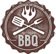 bbq grill: Vintage Barbecue BBQ Stamp Seal Illustration