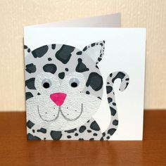 Sofia Snow Leopard is part of a range of fun and cute animal themed greeting cards. The bright patterns and bold textures make this card ideal for any occasion and for any age and the googly eyes really bring her to life. Size: x cm Card: Smo. Diy Cards, Your Cards, Thank You Cards From Kids, Snow Leopard, Digital Collage, I Am Happy, White Envelopes, Cute Animals, Greeting Cards
