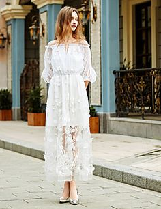 Women's+Going+out+Holiday+Simple+Loose+Dress,Solid+Boat+Neck+Midi+¾+Sleeve+Polyester+White+Spring+High+Rise+Inelastic+–+USD+$+59.99
