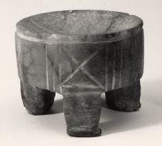 Calcite tripod incense burner; incised decoration.