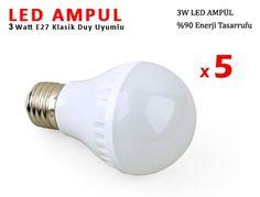 Klasik Duy E27 Led Ampul Şok Fiyata.5 Adet 3 Watt LED AMPUL Fırsatı Sadece 22 TL