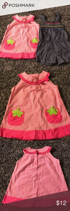 2 Piece Set Pink Dress with strawberry pockets & buttons on the back.  Denim spaghetti strap romper with rainbow stripes at the top. Dresses Casual