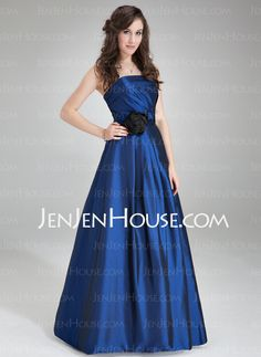 Bridesmaid Dresses - $119.99 - A-Line/Princess Strapless Sweep Train Taffeta Bridesmaid Dress With Ruffle (007004312) http://jenjenhouse.com/A-Line-Princess-Strapless-Sweep-Train-Taffeta-Bridesmaid-Dress-With-Ruffle-007004312-g4312