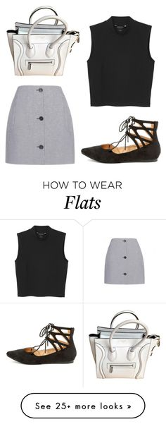 """""""flats"""" by xoemmaaoxx on Polyvore featuring Carven, Monki, Liliana and CÉLINE"""