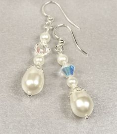 Pearl Bridal Earrings White Pearl and by PixieDustFineries on Etsy