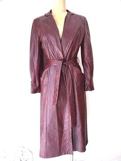 Lady Scully Leather Jacket Size Medium Long Dress Spy Trench Vintage 70s Coat  #LadyScully #Trench