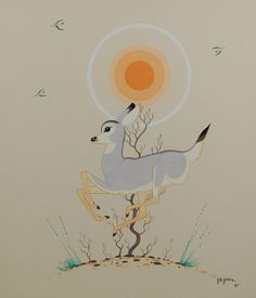 #adobegallery - Original Painting of a Frolicking Grey Fawn by Beatien Yazz (1928-2013) Little No Shirt - Jimmy Toddy