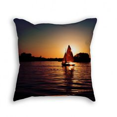 """Throw Pillow with Stuffing/Insert – """"Sailing Silhouettes"""" 