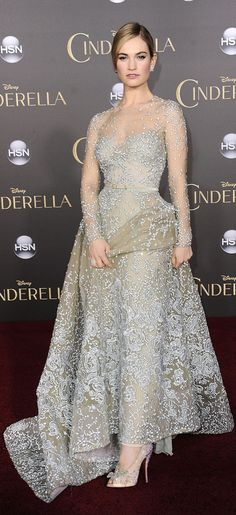 Lily James in an Elie Saab gown and Christian Louboutin heels at the world premiere of Cinderella.