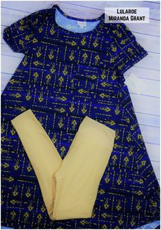 LEGGINGS material Blue/Gold/Black Carly Dress paired with Golden yellow leggings. #lularoe #lularoecarly #dress #fashion #ootd