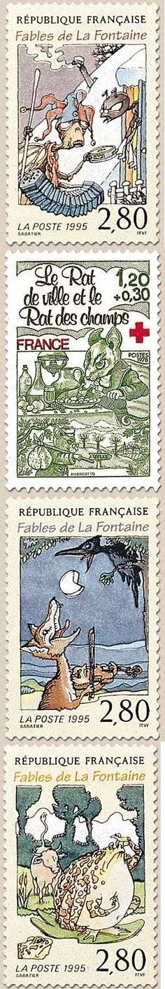 French stamps about the Fables de La Fontaine (obviously adopted from Aesop's Fables) Not Faux, but Beautiful
