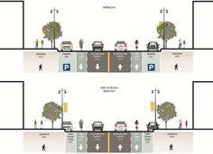 Proposal With Road Diet, Bike Lanes, Wider Sidewalks Villa Architecture, Architecture Portfolio, Landscape Architecture Section, Architecture Diagrams, Urbane Analyse, Urban Ideas, Planer Layout, Urban Design Diagram, Architectural Section