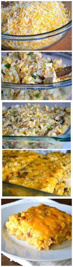 Loaded cauliflower & chicken casserole (THM S meal;16 oz cheese, 2 heads cauli, 3 chicken breasts, bacon) Yummy!!!!