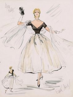 """Edith Head design for Grace Kelly in Rear Window, 1954.  At long last, another answer to """"What's black and white and beautifully film-costumed all over?""""  :)"""