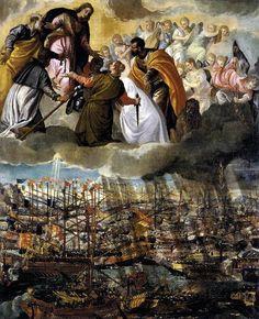 Battle of Lepanto, Paolo Veronese, c. 1572. Oil on canvas.Cette toile se trouvait à l'origine dans l'église Saint-Pierre martyr (San Pietro Martire) de Murano, à gauche de l'autel du Rosaire. On remarque en haut du tableau la présence de saint Marc, patron de la ville de Venise, et de sainte Justine, dont on souhaitait la fête le jour même de la bataille de Lépante.