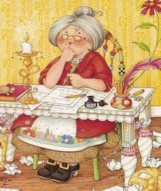 """Mary Engelbreit """"Mother Goose, hard at work, rhyming those rhymes."""""""