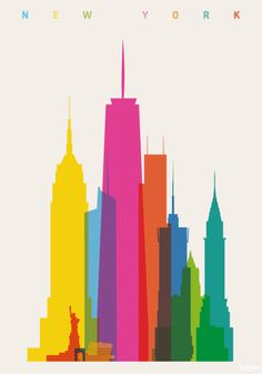 Shapes of Cities, illustrations by Yoni Alter  NYC: Empire State Building, Statue of Liberty, Washington Sq. arch, Guggenheim Museum, Bank of America Tower, One WTC, Three WTC, Conde Nast Building, NY Life Building, Chrysler Building. (all to scale)
