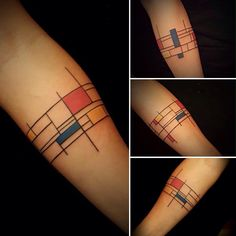 Mondrian Inspired Armband Tattoo by the AMAZING ALEX https://www.facebook.com/pachamama.tattoo.art