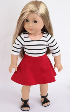 Handmade to fit like Paris American Girl Doll Clothes, 18 Inch, Modern RETRO PARIS, French Breton Striped Tee, Full Flare Mini and Sandals by ModernDollWorld on Etsy https://www.etsy.com/listing/249903936/handmade-to-fit-like-paris-american-girl