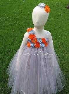 Gray Dress With Gray Orange Fower Dress Wedding Dress Picture Prop 6, 12, 18, 24 Month, 2T, 3T,4T 5T  Ivory Flower Girl Tutu Dress