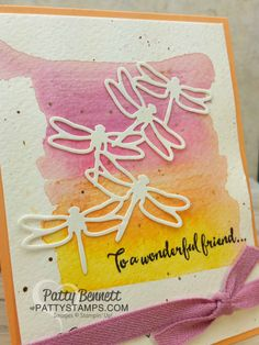 Detailed Dragonfly Thinlit Watercolor Card Sneak Peek | Patty's Stamping Spot | Bloglovin'