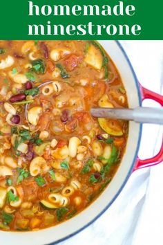 Homemade minestrone soup is a tomato based hearty soup that is packed with vegetables and beans. If you love traditional Italian minestrone soup, then you will love this homemade vegetarian soup recipe packed with delicious ingredients. Add a side of crusty bread to soak up every last bit of the soup.// acedarspoon.com #soup #minestrone #pasta #Italian #dinner