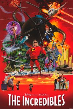 The INCREDIBLES one sheet movie poster. Art by Robert McGinnis. Tribute to James Bond posters