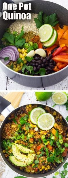 This vegan one pot Mexican quinoa chili is one of my favorite vegetarian recipes for busy weeknights! It& super healthy and so easy to make! The post This vegan one pot Mexican quinoa chili is one of my favorite vegetarian recipes& appeared first on Diet. Vegan Recetas, One Pan Mexican Quinoa, Mexican Quinoa Salad, Mexican Chili, Mexican Chicken, Italian Chicken, Vegetarian Dinners, Vegan Vegetarian, Vegan Chili
