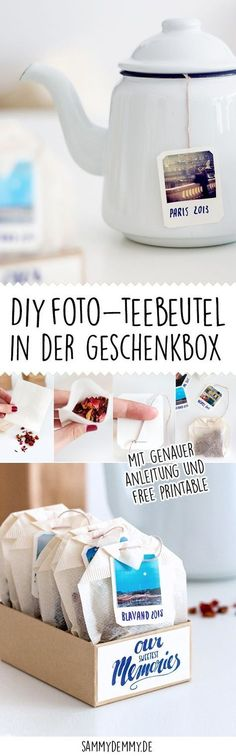DIY cup and teabag as a photo gift- DIY Tasse und Teebeutel als Foto-Geschenk Creative packaging ideas for a money gift and jewelry - Jewelry Packaging, Gift Packaging, Packaging Ideas, Packaging Design, Diy Photo, Photo Ideas, Diy Birthday, Birthday Gifts, Birthday Images