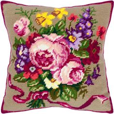 Classic Rose pillowcase cross stitch DIY embroidery kit, needlepoint | Lado - Patterns on ArtFire