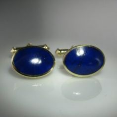 A handsome pair of Lapis Lazuli cufflinks in gold. The deep royal-blue ovals of pyrite-flecked Lapis Lazuli measure x Gross Weight (pair): grams Price: 395 Euro SKU: 1728 Lapis Lazuli, Diamond Engagement Rings, Royal Blue, Cufflinks, Pairs, Antiques, Silver, Gold, Accessories