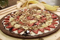 """Banana Split Brownie Pizza Recipe : Paula Deen : Food Network I've had this stuff twice in the last two days and said """"I have to figure out how to make this!"""""""