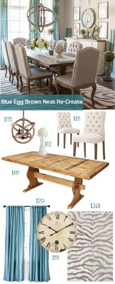 Check out this budget re-make of the Blue Egg Brown Nest Dining room. Get this look for thousands less than then original.: