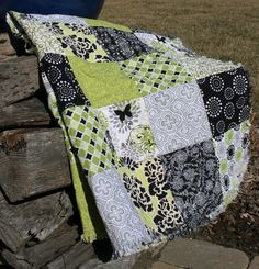 Throw Size Ragged Quilt - Lime Green, Gray and Black