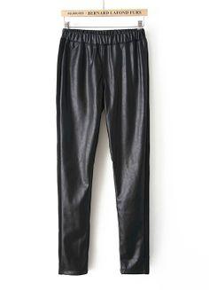 Black Elastic Waist PU Leather Pant GBP£14.60